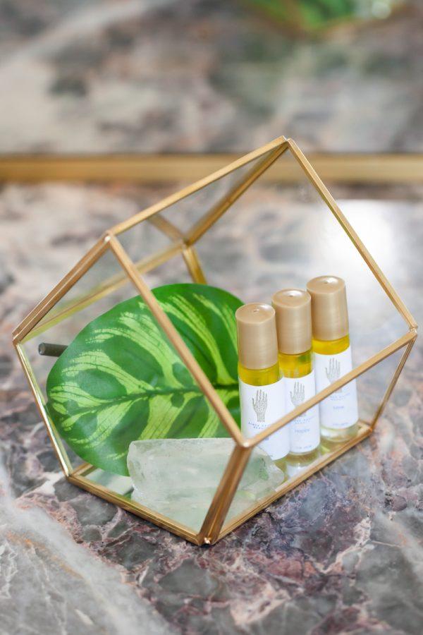 Image of Terrarium Filled with Three Organic Aromatherapy Sticks