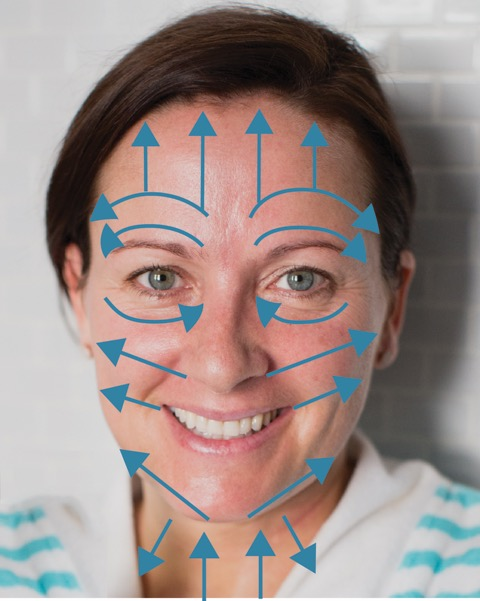 Image of Aimee Raupp with Arrows to Show Facial Cupping Movements