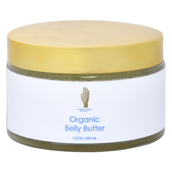 Organic Belly Butter in glass jar with gold lid