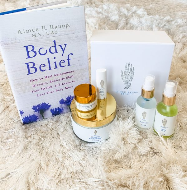 Image of Aimee Raupp's Body Belief Book and Aimee Raupp Beauty Products